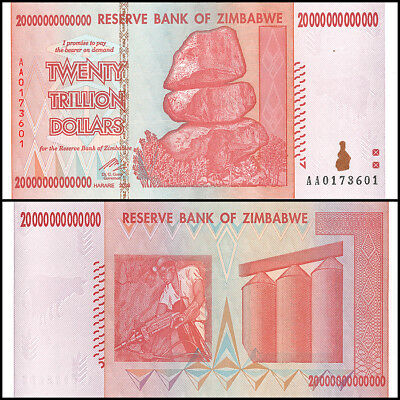 Zimbabwe 20 Trillion Dollars, AA/2008, P-89, UNC, 50 & 100 Trillion Series