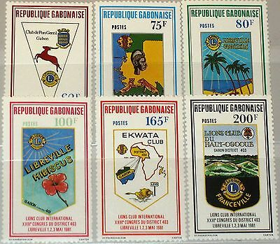 GABON GABUN 1981 769-74 459-64 23rd Congress Lions Intl. District 403 Arms MNH