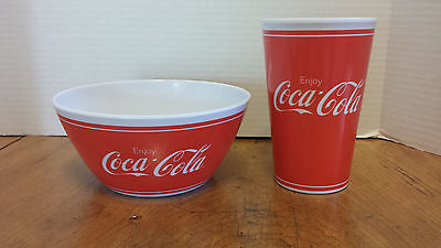 Coca-Cola COKE Plastic Bowl and Drink Cup Red & White  Gibson  Pool Picnic Kids