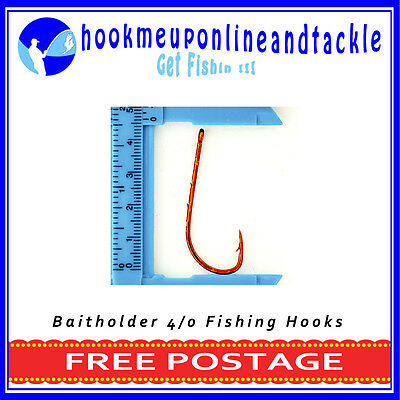 100 x Size 4/0 Red Bait Holder Hooks Saltwater Freshwater Fishing Tackle Bulk