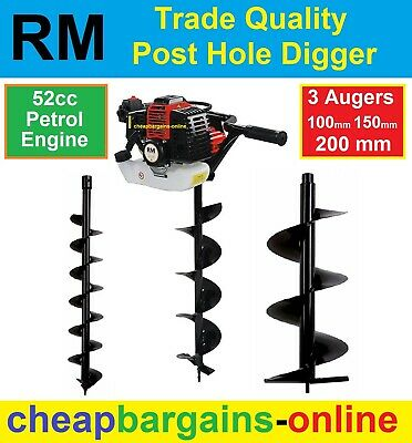 POST HOLE DIGGER 52cc PETROL ENGINE 3 AUGERS ONE MAN OPERATION TRADE QUALITY NEW