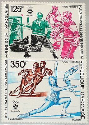 GABON GABUN 1984 891-92 C262-63 Winter Olympics Sarajevo Ice Hockey Skating MNH