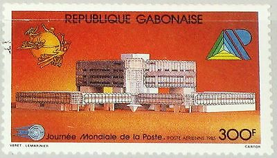 GABON GABUN 1985 944 C271 World Post Day UPU Welttag der Post Building MNH