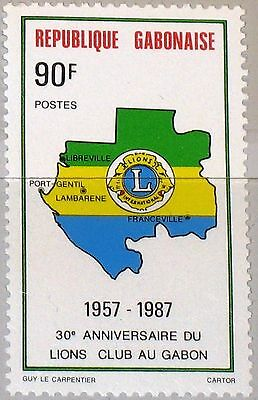 GABON GABUN 1987 990 617 30th Ann Lions Club Map Karte Emblem Charity MNH