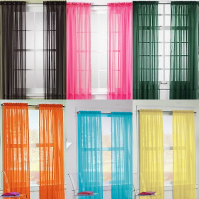 """6 Pcs. Sheer Voile Window Panel curtains 63 84 95"""" OR 1 valance (Scarf 37""""X216"""")"""