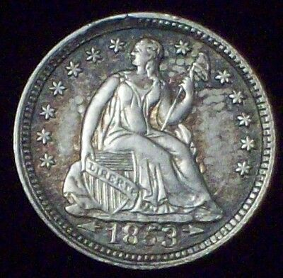 1853 Seated Liberty HALF DIME SILVER  AU Detailing Nice Toning Authentic HD .05