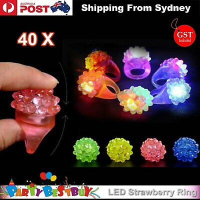 40x Led Flashing Strawberry Finger Rings Beams Lights Glow In the dark Party Toy