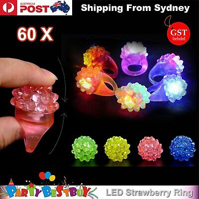 60x Led Flashing Strawberry Finger Rings Beams Lights Glow In the dark Party Toy