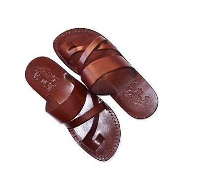 Brown Leather Sandals For Men Handmade Jesus Strap Thongs US 6-12 EU 39-46 New