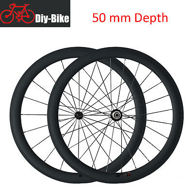 1530g 50mm Clincher Carbon Wheels Road Bike Bicycle Wheelset 700C
