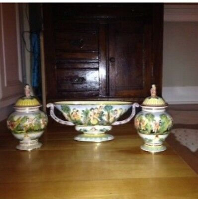 Italian Gorgeous Huge Capodimonte Hand Painted Set Bowl And Urns