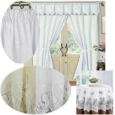 "Victoria 3"" pencil pleat lace lined curtains, pelmets, tablecloths WHITE / CREAM"
