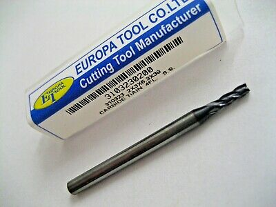 2mm SOLID CARBIDE 4 FLUTED TiALN COATED END MILL EUROPA TOOL 3103230200  #41