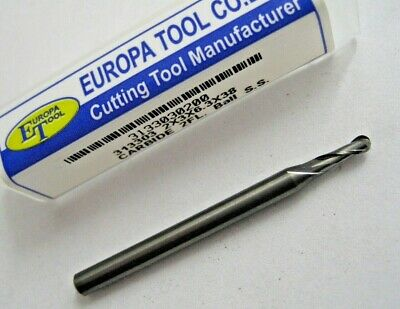 2mm SOLID CARBIDE BALL NOSED 2 FLUTED SLOT DRILL MILL EUROPA TOOL 3133030200 #47