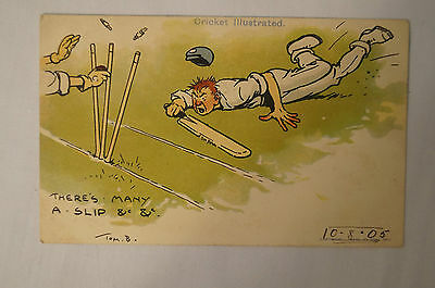 Vintage - Comic - Cricket - Postcard - There's Many A Slip.