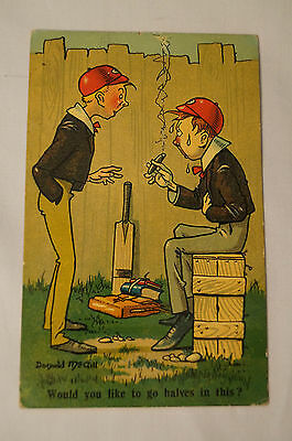 Vintage - Comic - Cricket - Postcard - Would You Like to go Halves in This ?