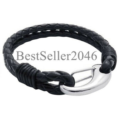 Men's Double Braided Black Leather Bracelet with Stainless Steel Clasp Bangle 8""