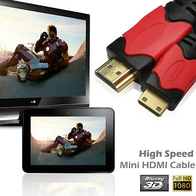Premium 6FT HDMI Mini to HDMI Digital Video Cable 1080p Type A to C,Black / Gold