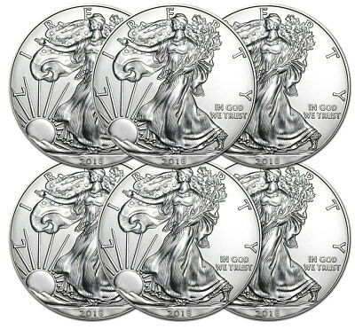 Lot de 6 pieces en argent American Eagle 1 dollar US 1 once 1 oz silver