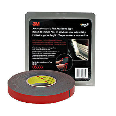 3M 06383 Double Sided Automotive 7/8 Inch x 60 Foot BLACK Tape FREE SHIPPING
