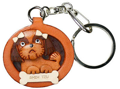 Shih Tzu 3D Leather Dog plate Key chain/ring/charm *VANCA* Made in Japan #26546