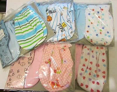 2 pair 100% Cotton Newborn Baby/Infant Anti-scratch Mittens Gloves, Choose Print