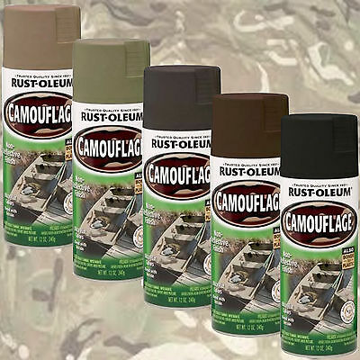 Rust-Oleum Camouflage Ultra Flat Camo Spray Paint Khaki/Green/Black/Brown
