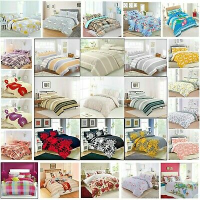 Duvet Cover with Pillow Case Quilt Cover Bedding Set Single Double & King Sizes