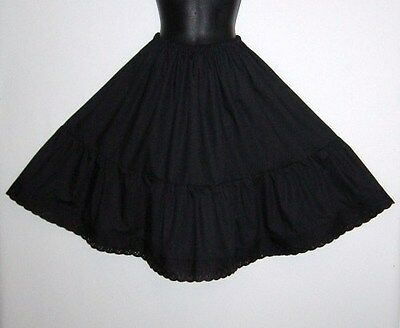 Vintage Style Black Cotton  petticoat for 30's-40's style Goth Steampunk