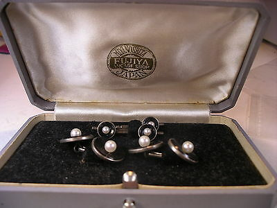Antique Signed Mikimoto Pearl Cufflinks & Studs Sterling Silver