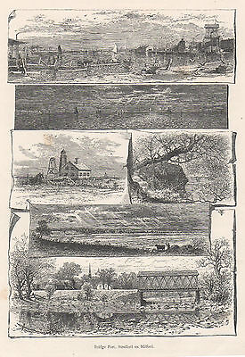 Antique print New Haven New York  Bridgeport, Stratford and Milford USA 1889