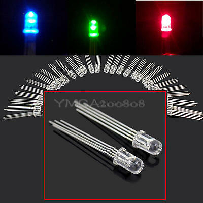 50 Pcs Ultra-Bright 5mm 4 pin RGB Water Clear Common Anode LED Red Green Blue