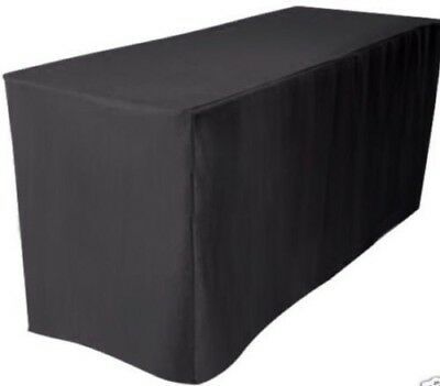 5' ft. Fitted Polyester Table Cover Wedding Banquet Event Tablecloth BLACK