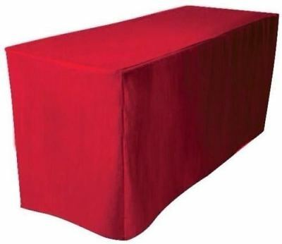 8' ft. Fitted Polyester Table Cover Trade show Booth banquet DJ Tablecloth RED