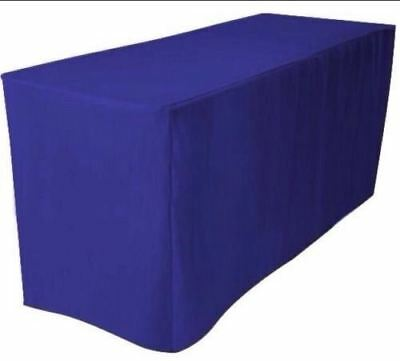 4' ft. Fitted Polyester Table Cover Tablecloth Trade show Booth DJ - ROYAL BLUE