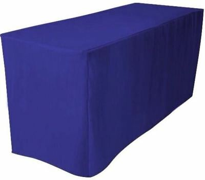 6' ft. Fitted Polyester Table Cover Trade show Booth DJ Tablecloth ROYAL BLUE