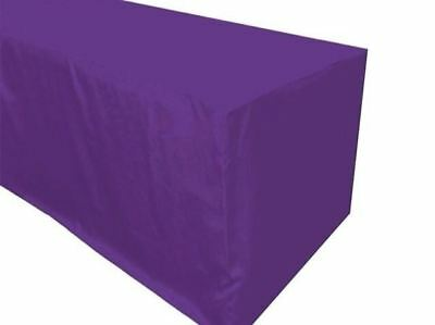 4' ft. Fitted Polyester Table Cover Trade show Booth banquet Tablecloth Purple