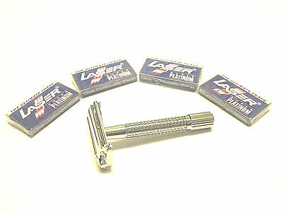 Classic Mens Butterfly Style Safety Razor  + 20 Double Edge Razor Blades Set New