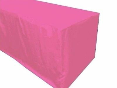 8' ft. Fitted Polyester Tablecloth Trade show Booth partyTable Cover Pink