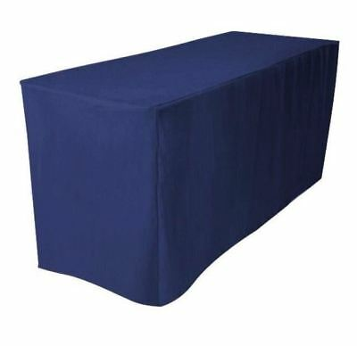 8' ft. Fitted Polyester Tablecloth Trade show Booth Wedding DJ Table Cover Navy