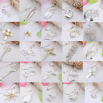 Wholesale Fashion Jewellery 925Solid Silver Pendant Chain Necklace XMAS GIFT