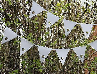White Heart Bunting Banner Garland Wedding Party Christening Decoration