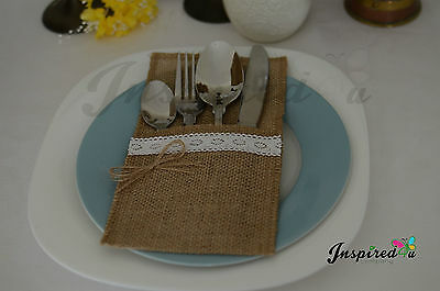 Hessian Cutlery Holders Burlap Silverware Rustic Wedding Lace Detail Party Decor