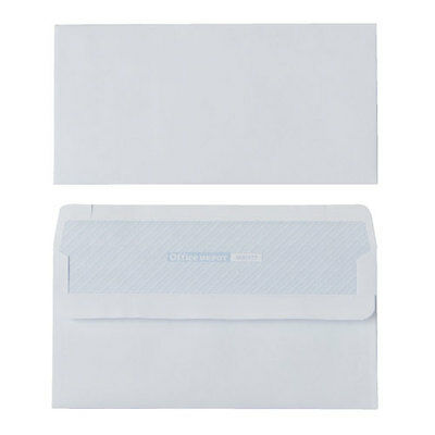 Office Depot DL 80gsm White Envelopes, Self Seal Plain - Box of 1000, NO window
