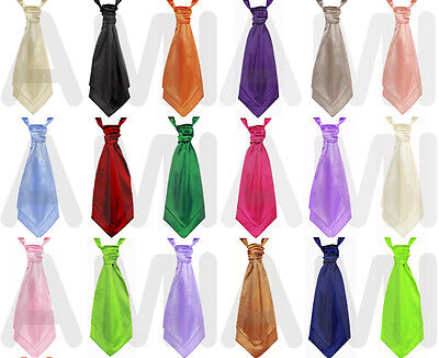 Boys New Pre Tied Wedding Cravats Silky Satin Childrens Scrunch Ties 45 Colours