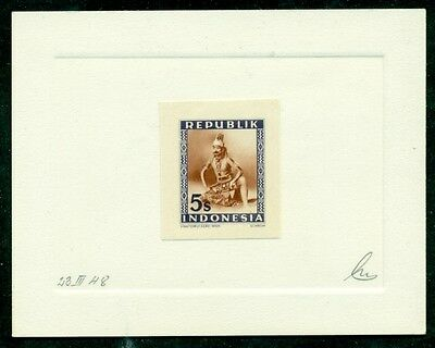 INDONESIA #36 5s PROOF on Die Sunk Card, signed, only 3 made, XF