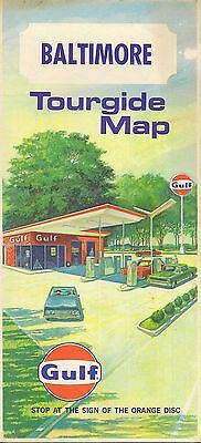 1968 GULF OIL Gas Station Road Map BALTIMORE Maryland Patapsco River Catonsville