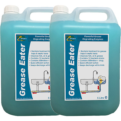 HYDRA GREASE EATER LIQUID 2x5L Grease Enzyme Cleaner +Degreaser +Fat Oil Remover