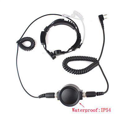 Military Covert IP54 Big PTT Throat Mic Earpiece Headset for 2 Pin KENWOOD Radio