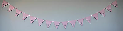 Pink Heart Bunting Banner Garland Wedding Party Christening Decoration Free Post